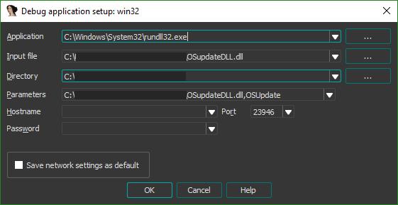 Debugger set up to run `rundll32.exe` with arguments `OSupdateDLL.dll,OSUpdate`