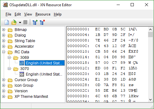 Screenshot of XN Resource Editor showing two RCDATA resources, 3069 and 3070