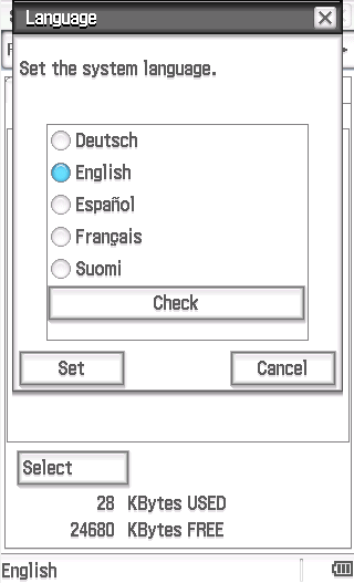 The Check button within the language selector within the System application