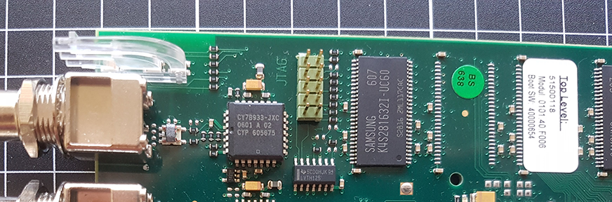 The JTAG header in the top left corner of the TSP board